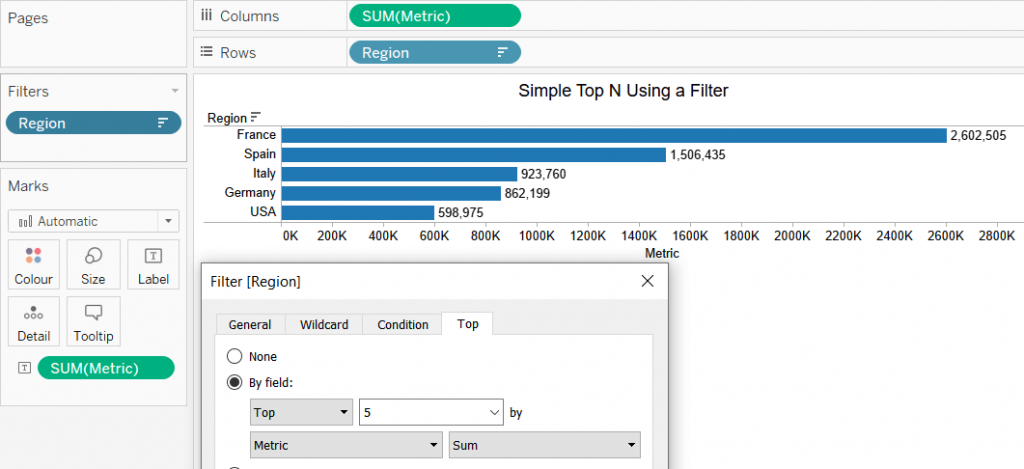 tableau bar chart with top N filter