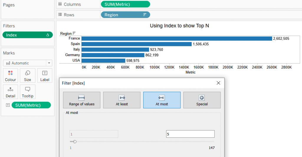 tableau bar chart with top N using calculated field filter