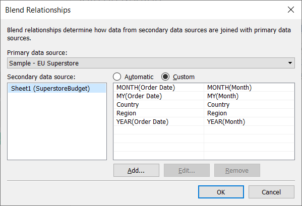 set up custom relationships with a Tableau data blend