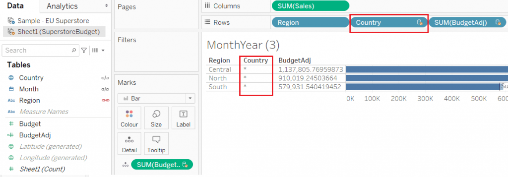 Example of the asterisk seen in Tableau data blending