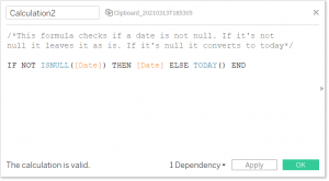 A Tableau calculated field for IS NOT NULL