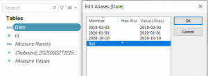 Set the alias of a null date in Tableau