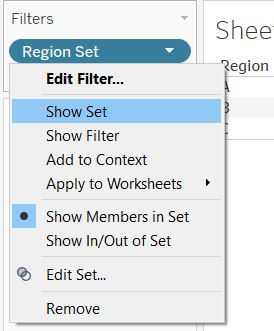 tableau set with Show members in set selected