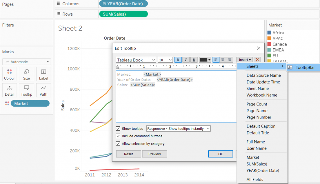 Add a sheet to a Tableau tooltip