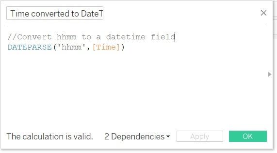 Tableau calculated field to convert a text time to a datetime data type